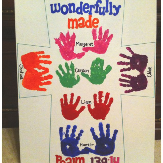 Bulletin Board Ideas 2 Year Olds: 1 Year Old Class Handprint Canvas For Auction
