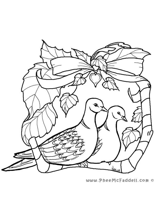 Two Turtle Doves www.pheemcfaddell.com | Love coloring ...