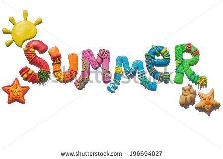 Plasticine colorful summer lettering, fun background. Letters and summer objects made of modeling clay on white background.