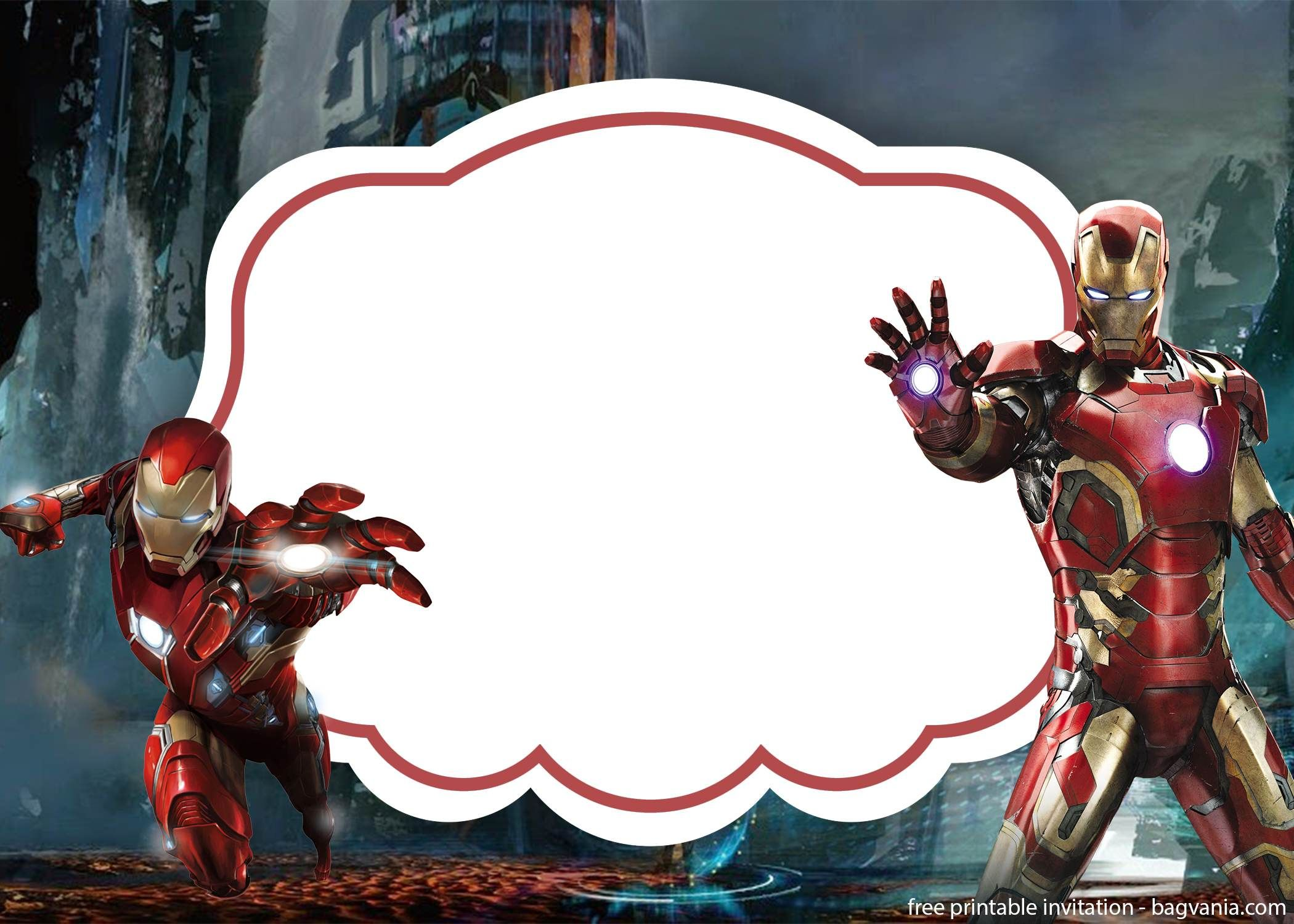 FREE Iron man invitation template  Free printable birthday