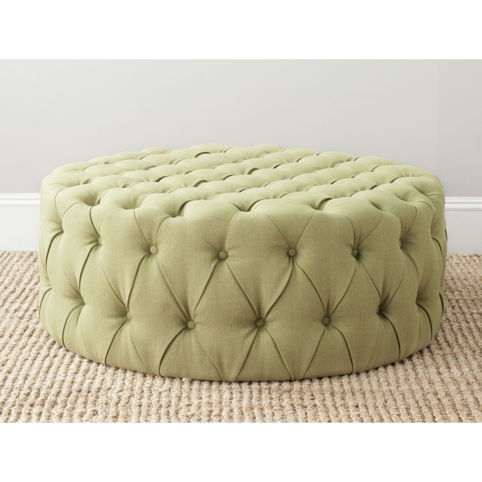 Enjoy The Bevelled Gem Diamond Pleated Look Of Extreme Tufting With This Safavieh Charlene Light Green Ottoman With A 39 Green Ottoman Ottoman Tufted Ottoman
