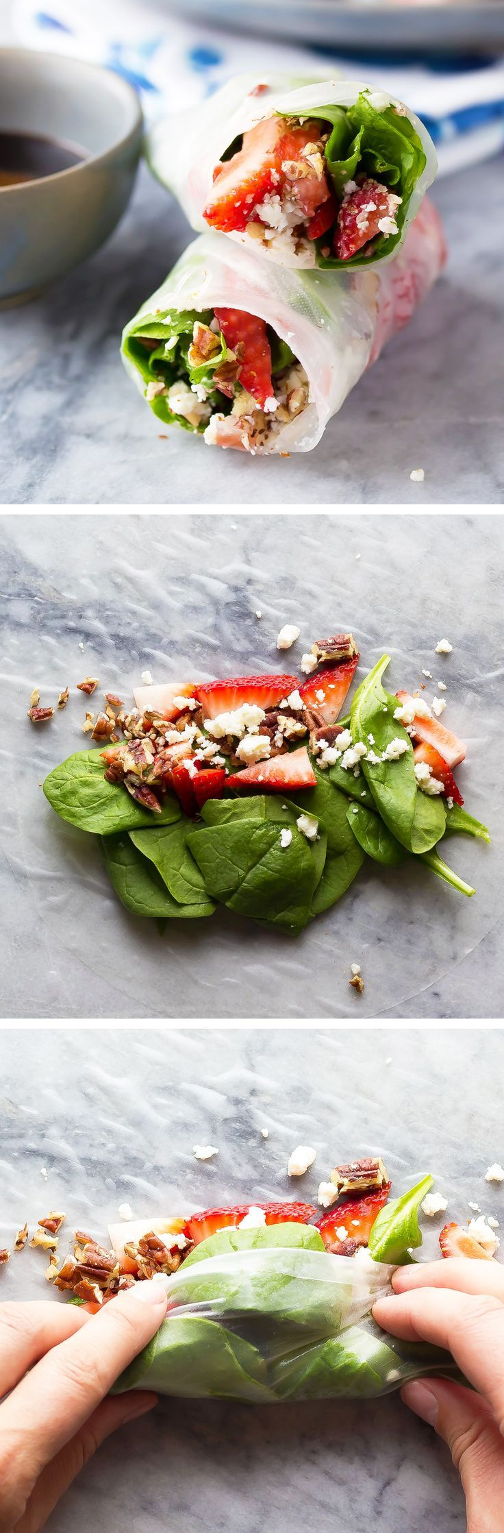 Strawberry Spinach Salad Rolls: 90 calories each, only 6-ingredients and 10 minutes to make, and a video to show you how easy they are to roll!!