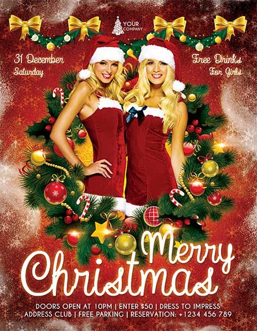 free christmas party psd flyer template httpfreepsdflyercomfree