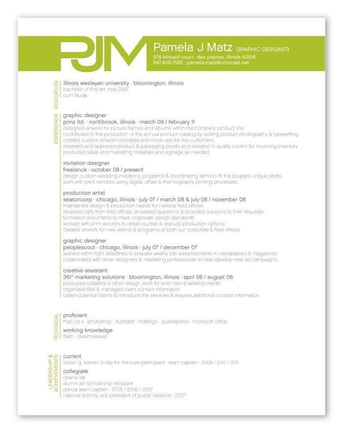 resume by Pamela Matz at Coroflot for ems?! Love the graphics - production artist resume