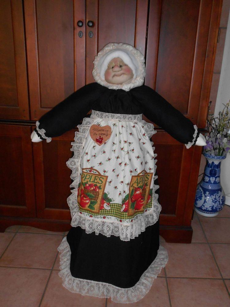 Black Dress Cream Lace Apple Apron Vacuum Cover Soft Sculpture Grandma