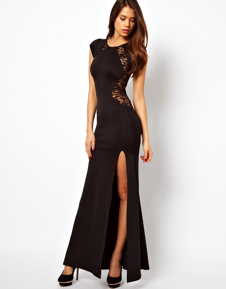 Black Lace See Through Slit Long Evening Dress | Sexy, Sale items ...