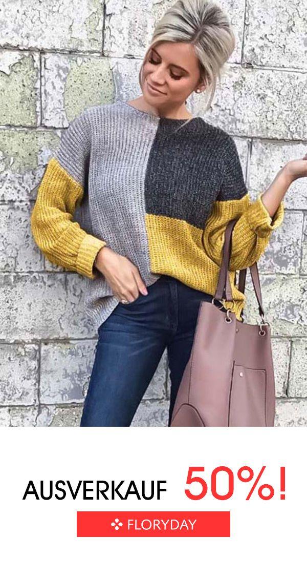 Photo of Legerer Pullover mit Rundhalsausschnitt und Blockfarben