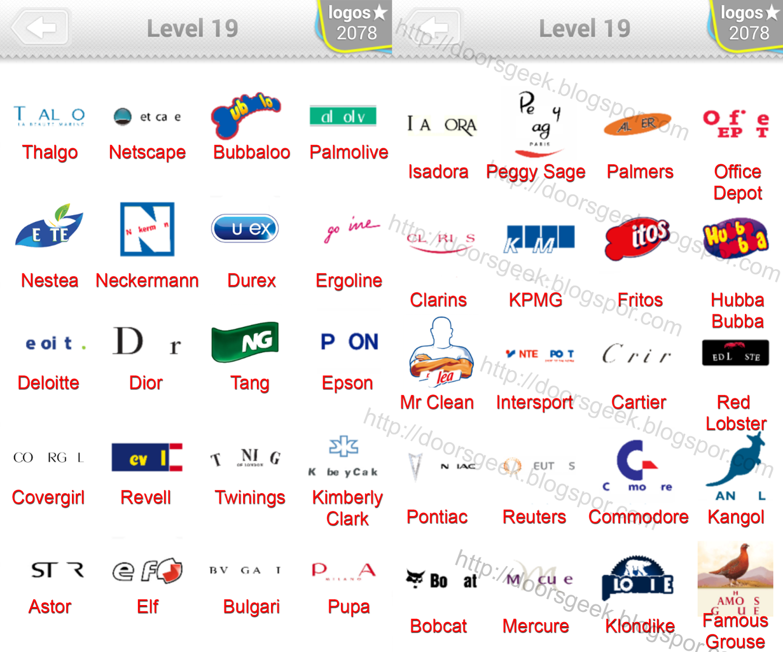 Logo Quiz Level 19 Answers (bubble quiz games) Answers