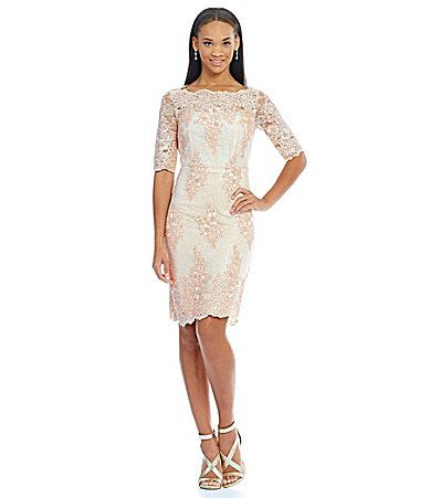 Spectacular Tahari ASL Sequin Lace Sheath Dress Dillards