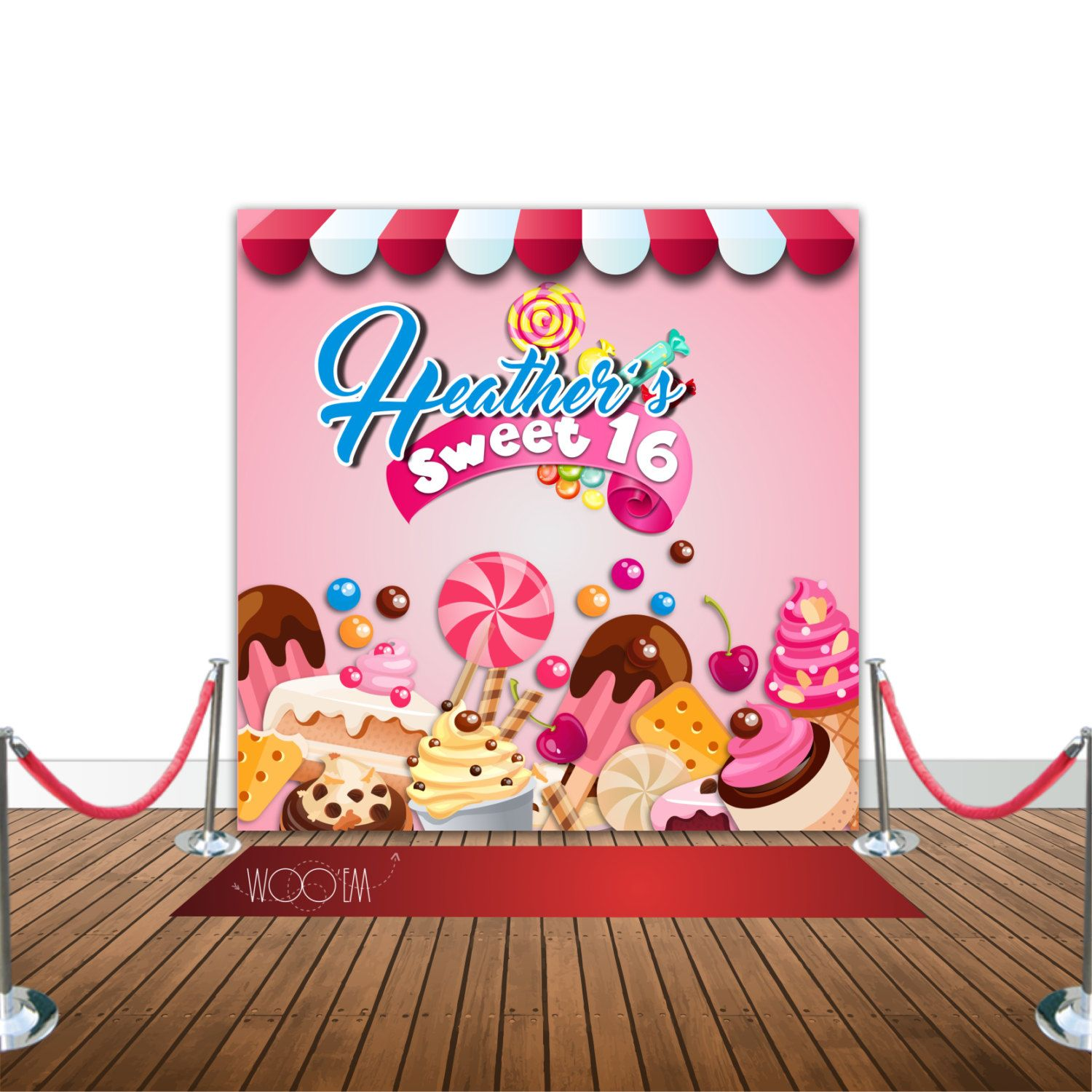 Design banner for etsy - Candy Themed Sweet Sixteen Banner Backdrop Step Repeat Design Print And Ship