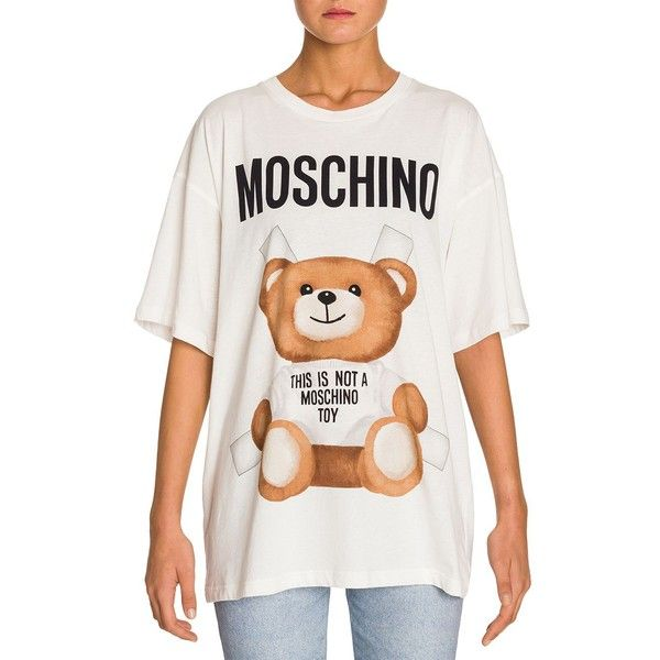 d3cc6a5d2cb Moschino Oversized Bear Logo Tee ( 225) ❤ liked on Polyvore featuring tops