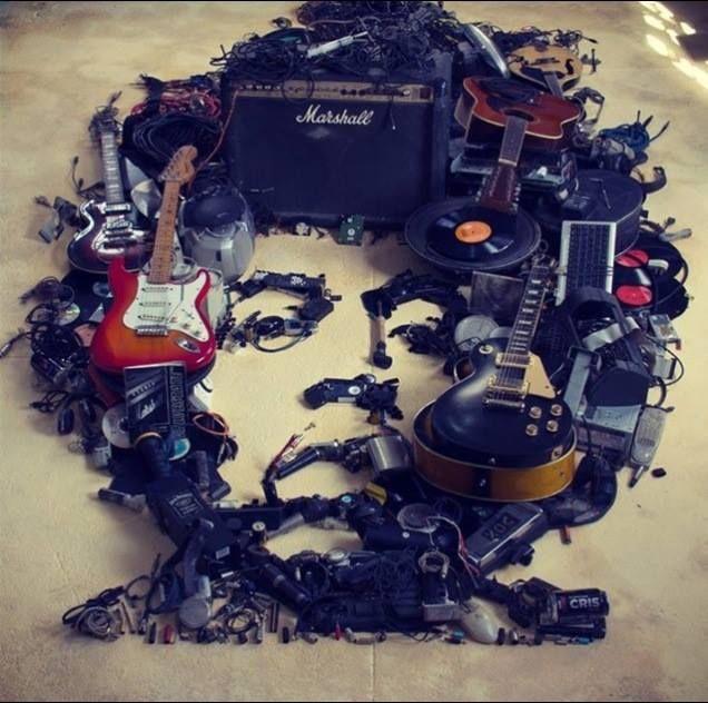 Awesome Jimi Hendrix sculpture made from trash!   #jimihendrix #guitars #art www.secretrecordslimited.com