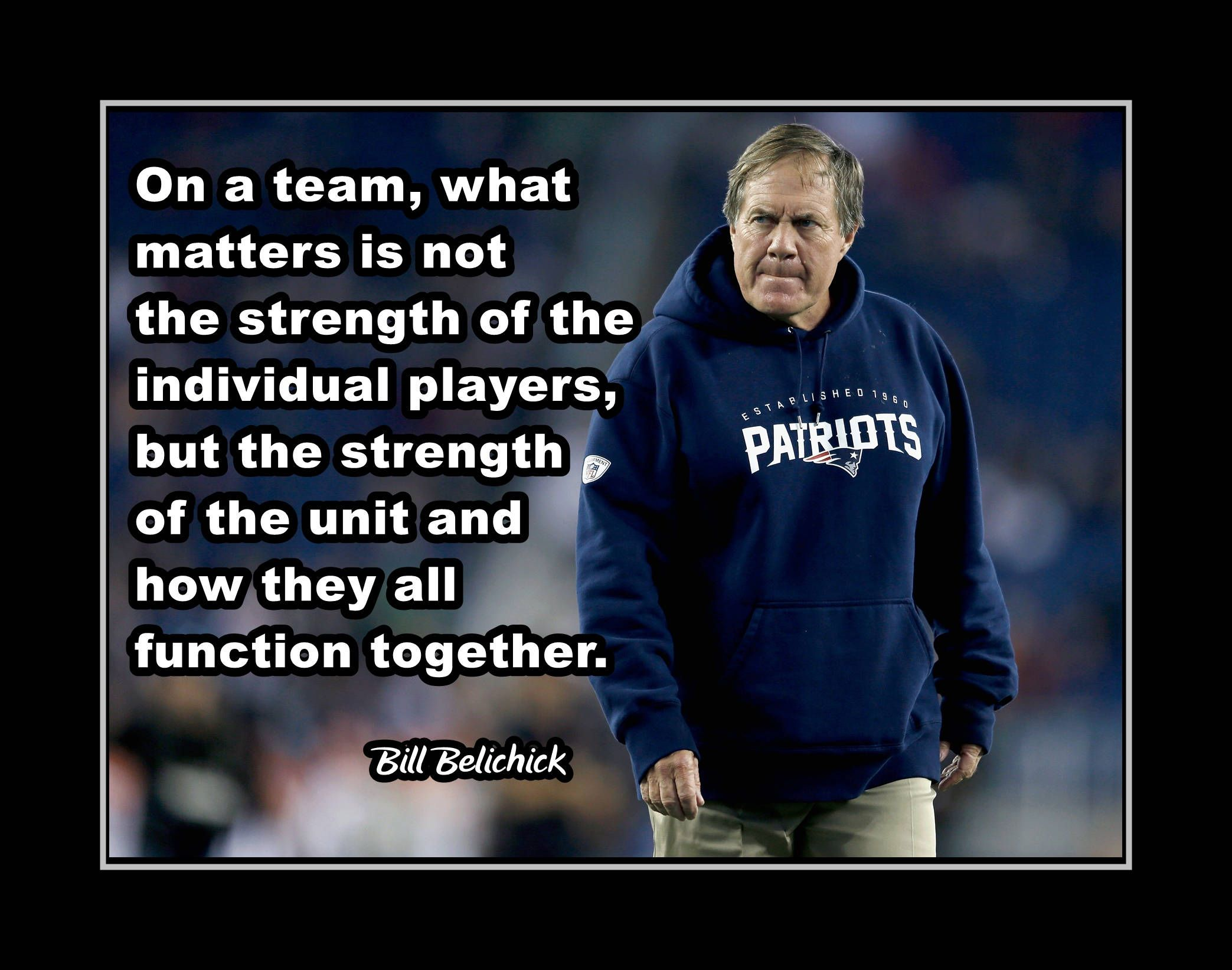 Bill belichick patriots football quote poster gift