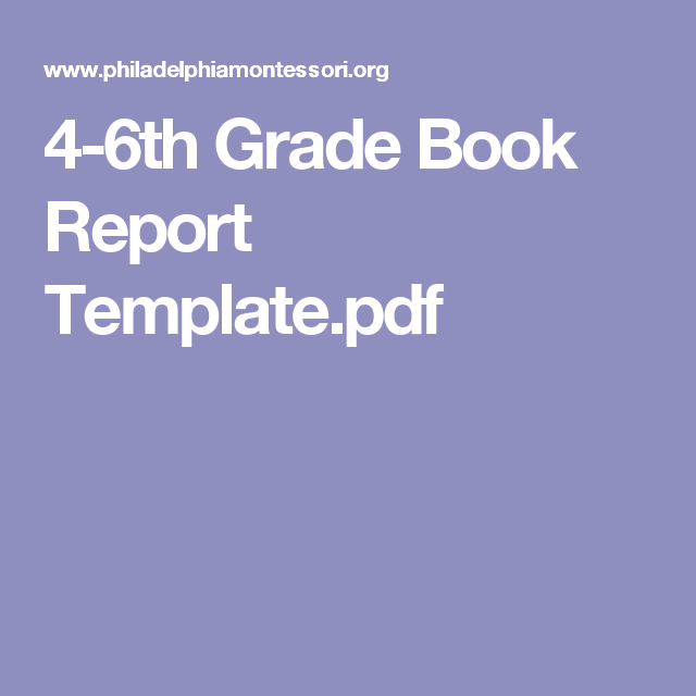 Th Grade Book Report TemplatePdf  Learning    Book