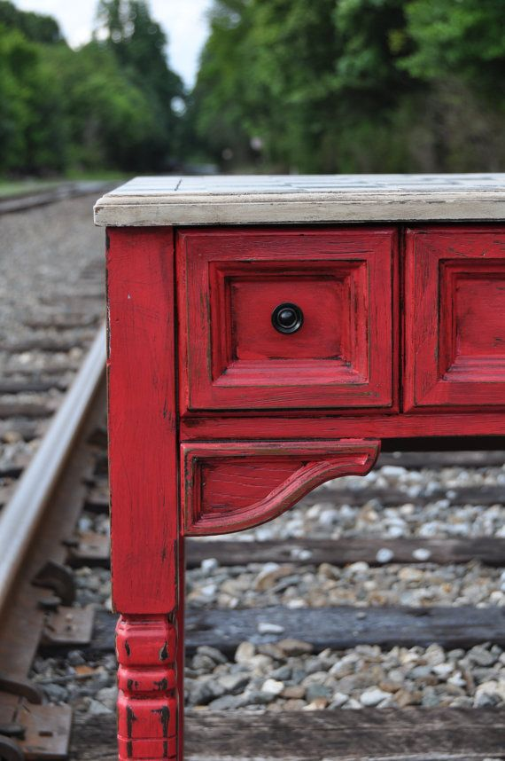 Barn Red Table Black And White Handpainted Checkerboard Vanity Desk Made From Recycled Sewing Distressed
