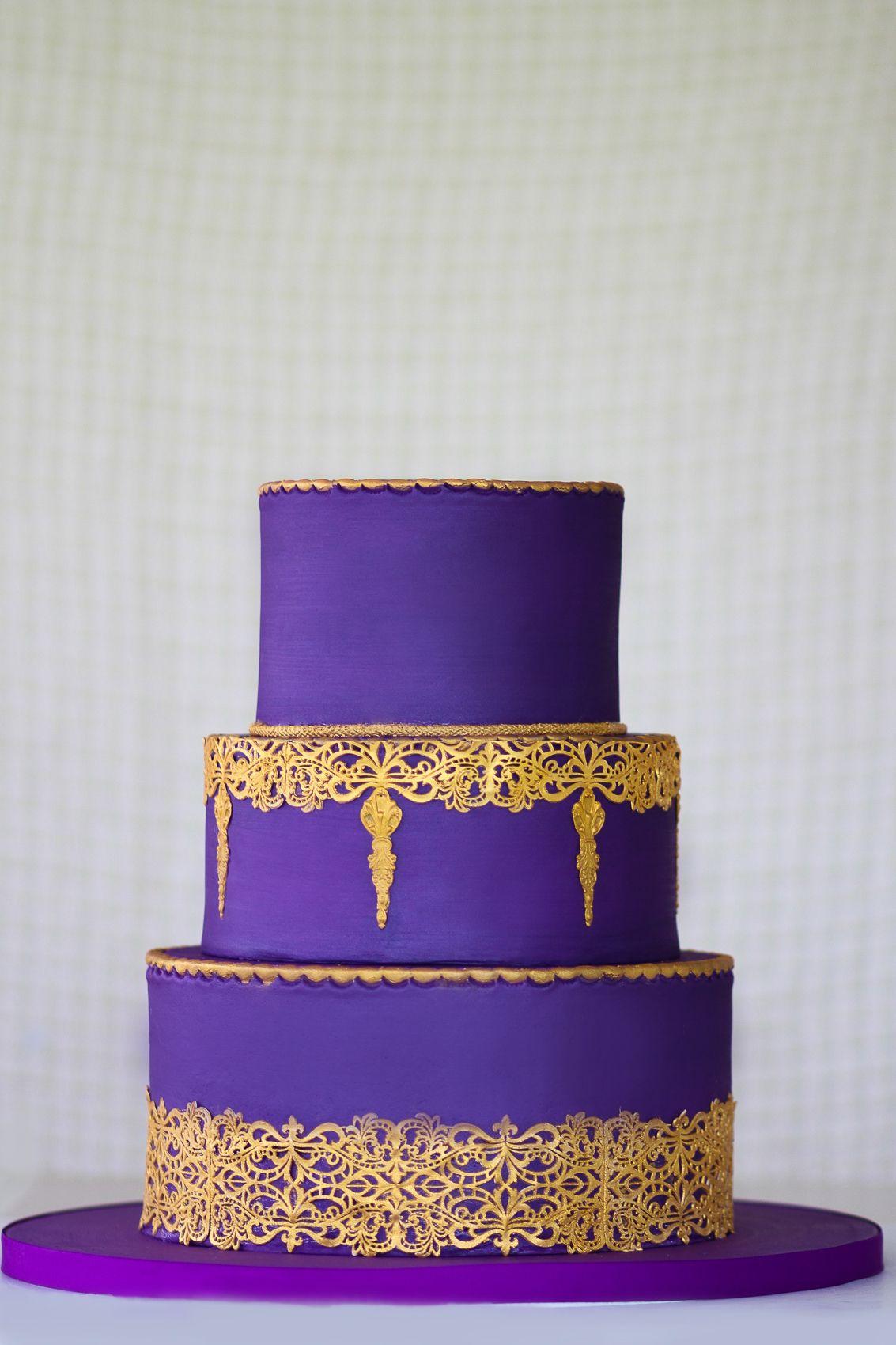Purple Gold Cake Modern Wedding Cake Beautiful Cakes Cake