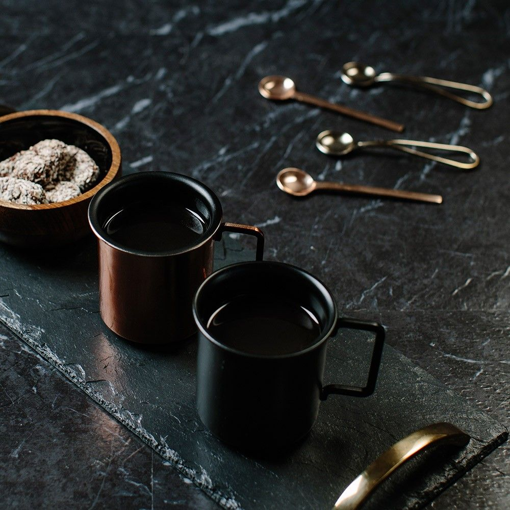 Nice styling. Just Slate Set of 2 Small Coffee Cups (With