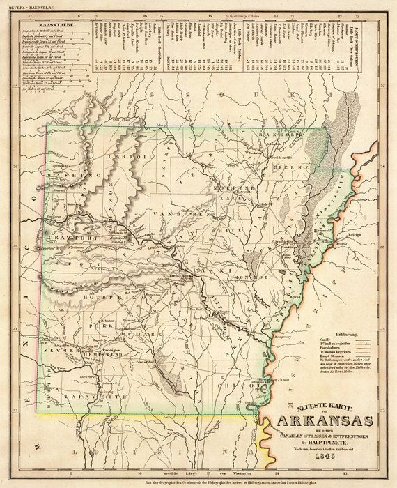 Old Map Of Arkansas Historical Map Restored Fine Reproduction On - Us-map-1845
