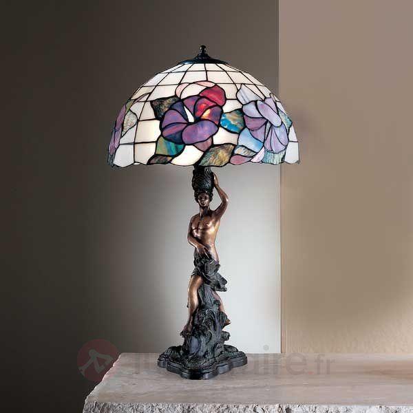 Lampe à poser Tiffany EMELIE 40 avec statue 7540276