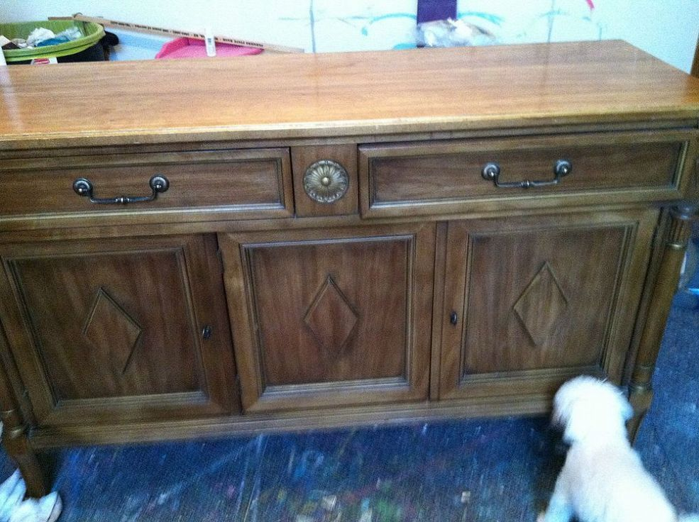 thrift store buffet turned painted tv console