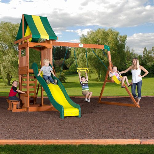 Backyard Discovery Weston Cedar Swing Set with Canopy 8 Feet Super Safe Speedy Slide Snack Table Sand Box - $349 & Backyard Discovery Weston Cedar Swing Set with Canopy 8 Feet Super ...
