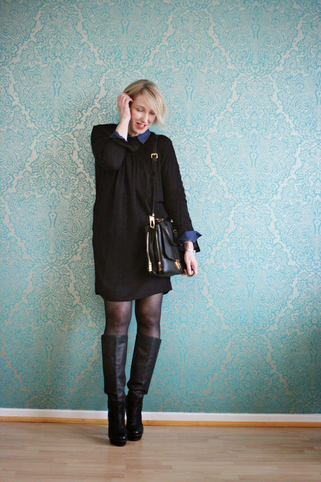 kurzes kleid mit hohen stiefeln kombiniert - glam up your