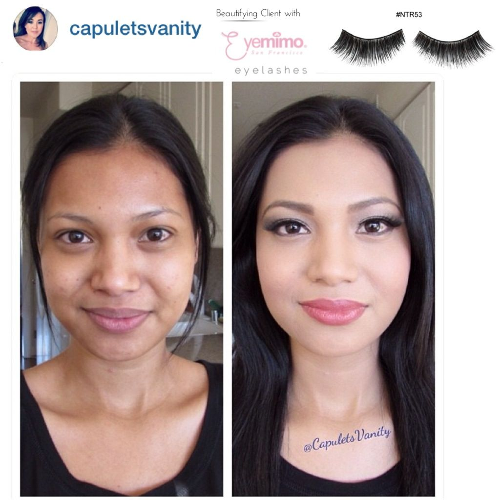 Before & After full makeup with our false eyelashes style