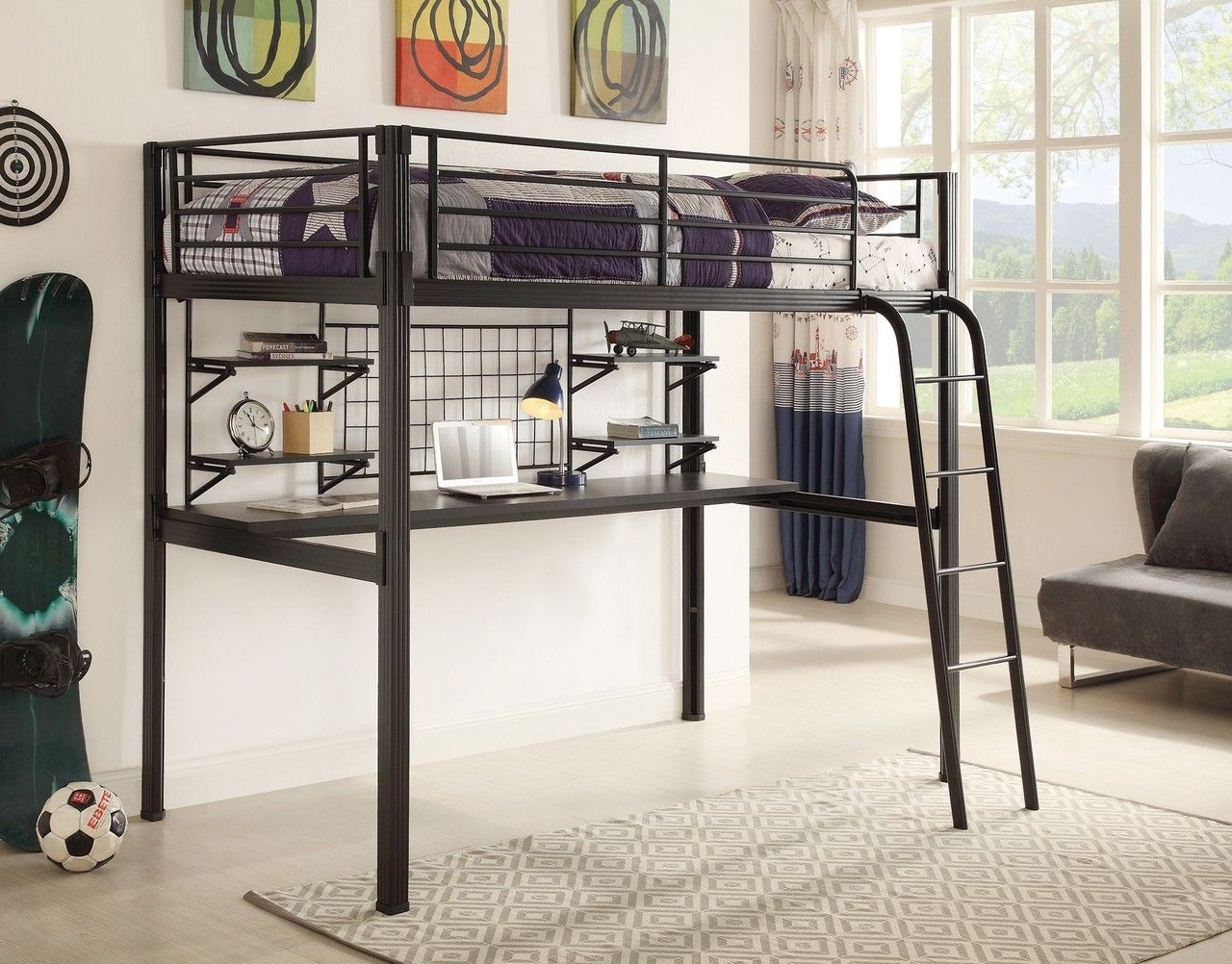 Garth Boltzero Twin Black Metal Loft Bed with Workstation | Camas ...