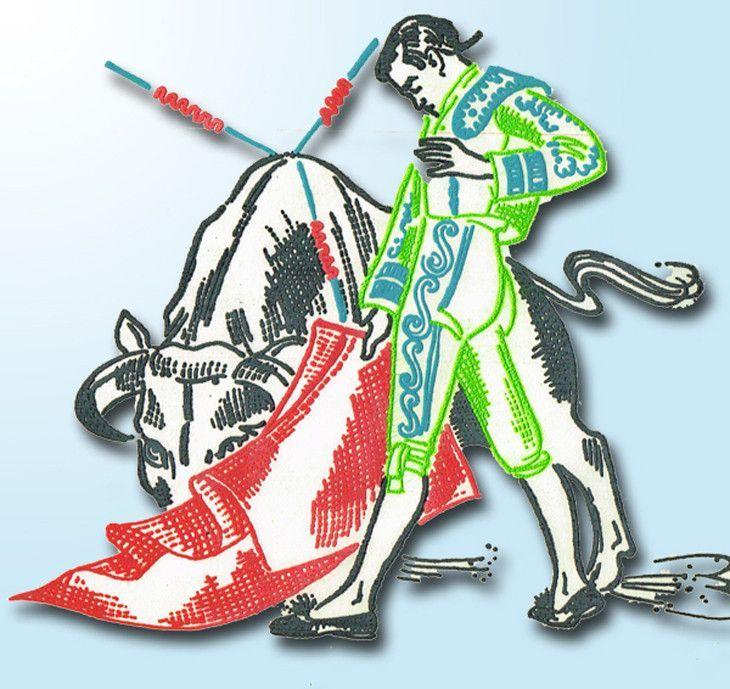 1950s Matador Motifs Vogart Textilprint 548 Color Hot Iron Transfer Uncut ORIG