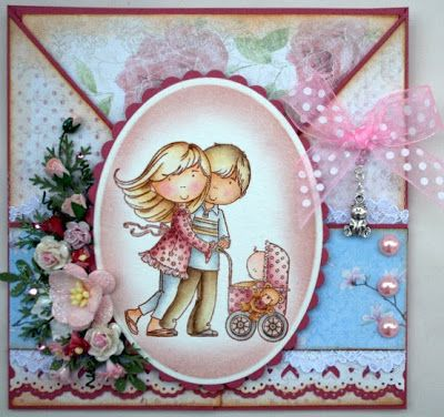 Annes lille hobbykrok: Stampavie, Baby, Criss Cross card, Distress Ink