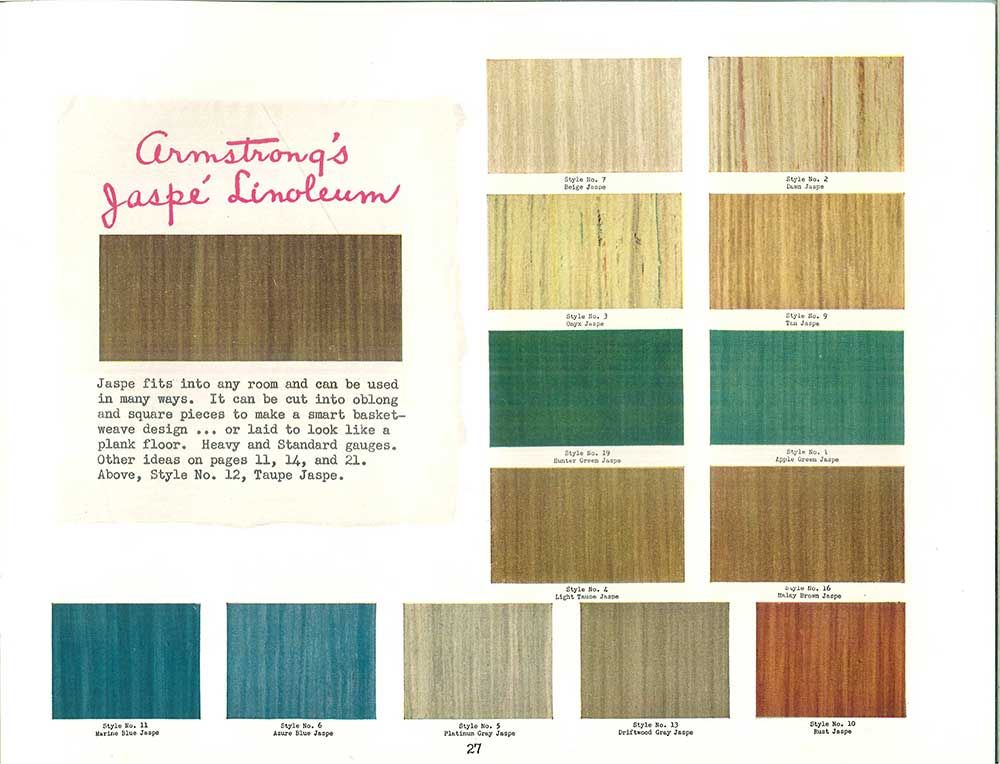 1940s decor 32 pages of designs and ideas from 1944 for Linoleum flooring colors