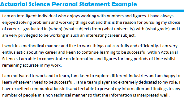 work statement examples