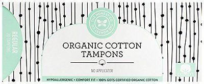 Honest Organic Cotton Tampons with No Applicator, Regular, 20 Count