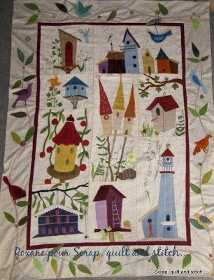 Scrap,quilt and stitch: Quilt mystère : Birdhouses lane, les bandes...