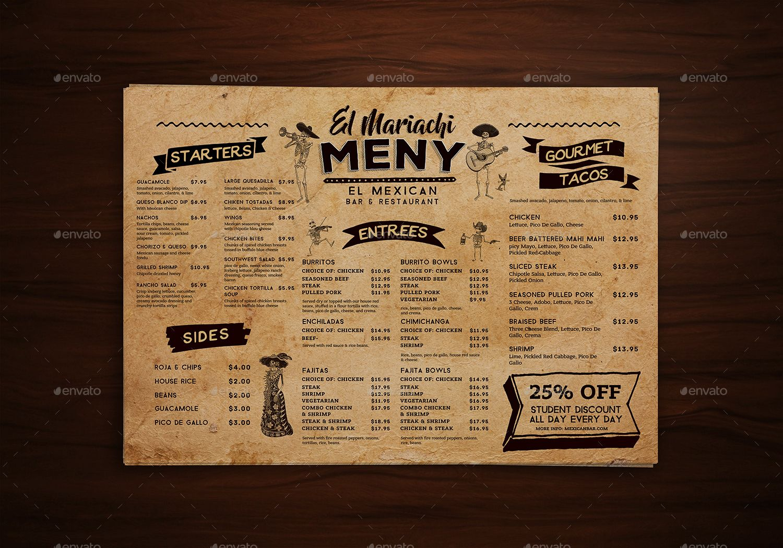 Mexican Food Menu Placemat Template By Vorsa Graphicriver Mexican Food Recipes Mexican Food Menu Food Menu
