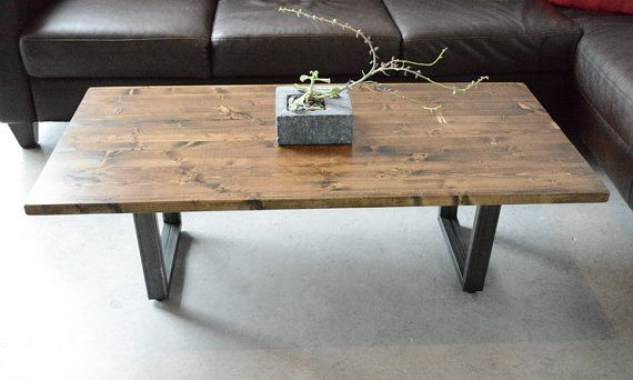 Modern Coffee Table Made With A Knotty Pine Top And Steel Base The