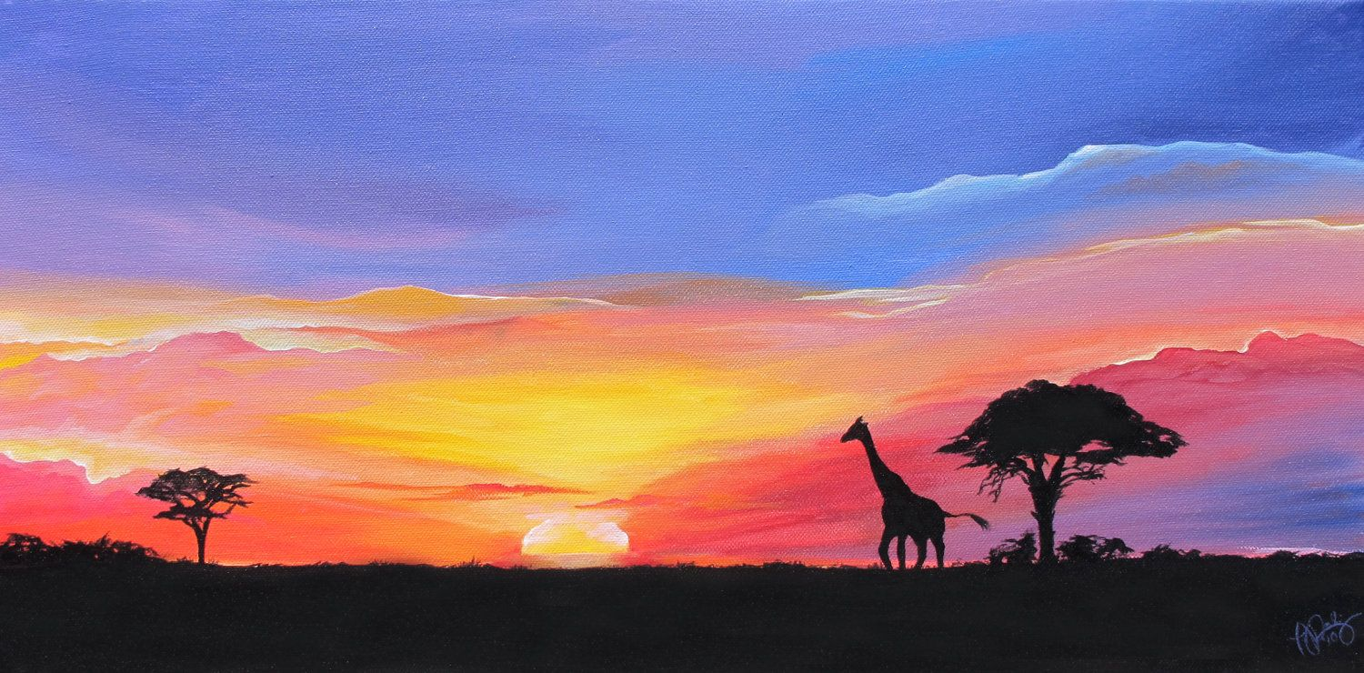 African Sunset Paintings African Sunset Landscape Painting