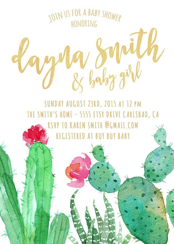 cactus baby shower invitation fiesta watercolor mexican