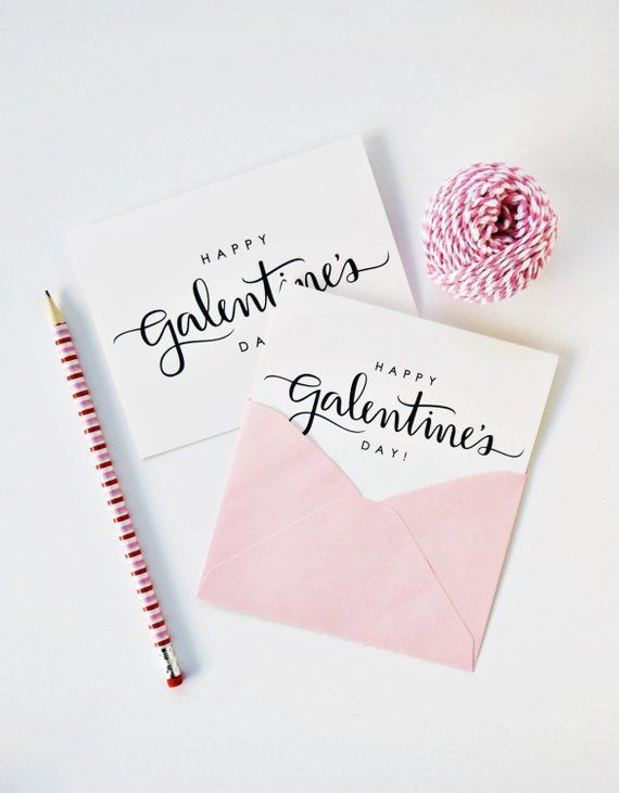 Happy Galentine S Day Card Calligraphy Card Hand Lettered Card Valentine S Day Best Friend Ca Happy Galentines Day Hand Lettering Cards Valentine Day Cards