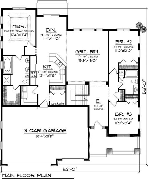 First Floor Plan of Craftsman Traditional House Plan 73293