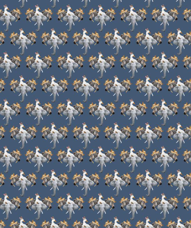 Digital tricot Stenzo elephant / zebra d.blauw