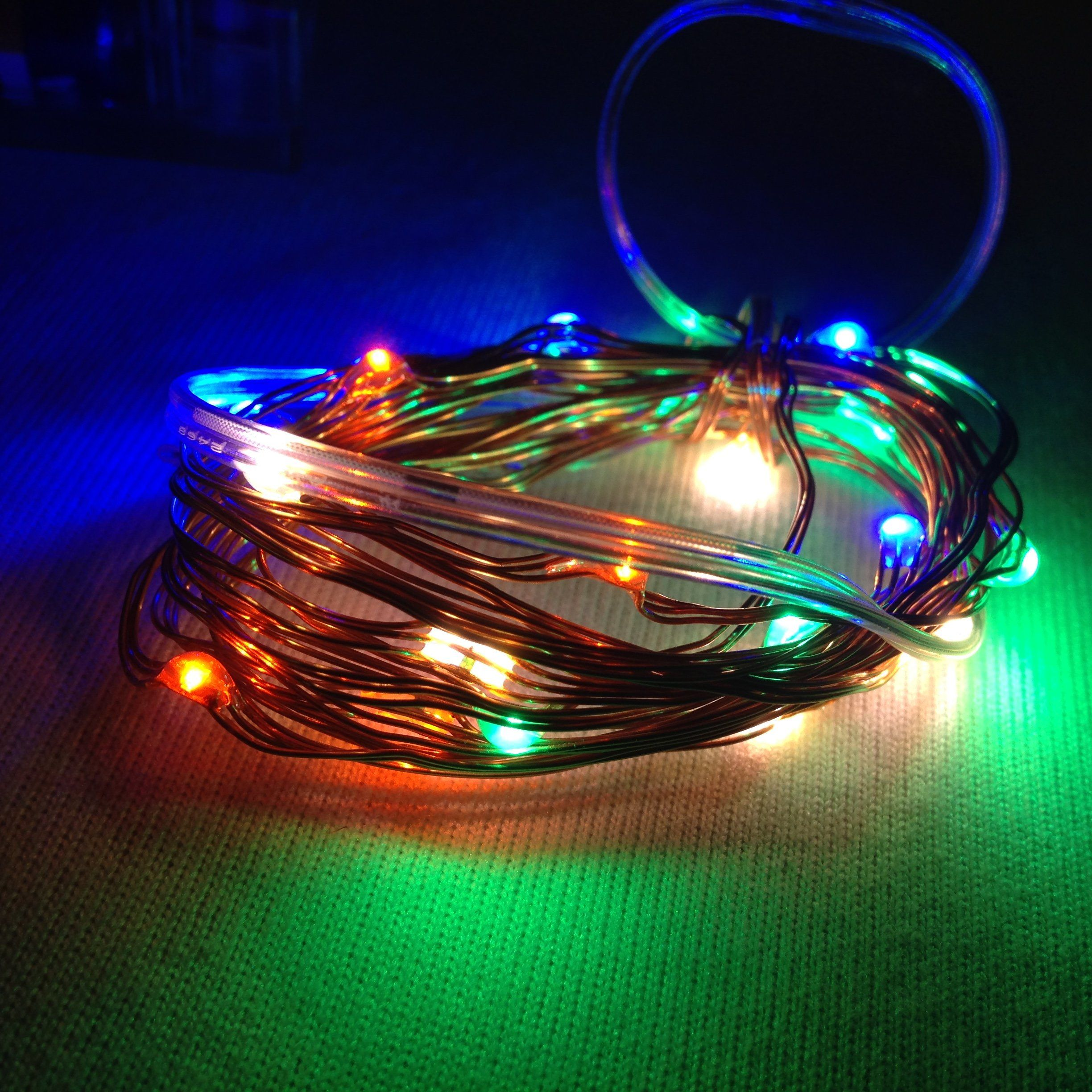 Micro Multi Color Led Light Set On Copper Wire 20 Led Lights 90 In Battery Operated Multi Color Led Led Lights Multi Color