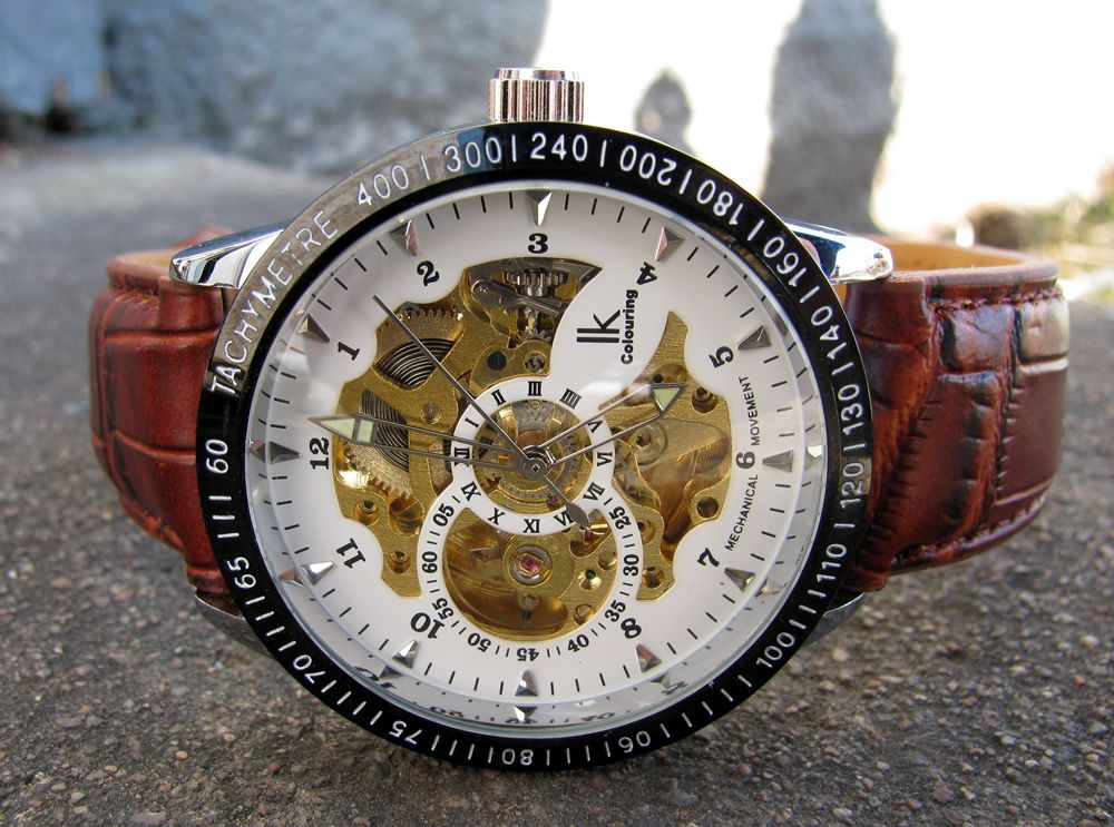 Herrklocka IK Colouring - Skeleton brunt läderband (vit guld)  ik  skeleton   ikcolouring  armbandsur  klocka  klockor  herrklocka  herrklockor  runns   watch ... 40862470b5afb
