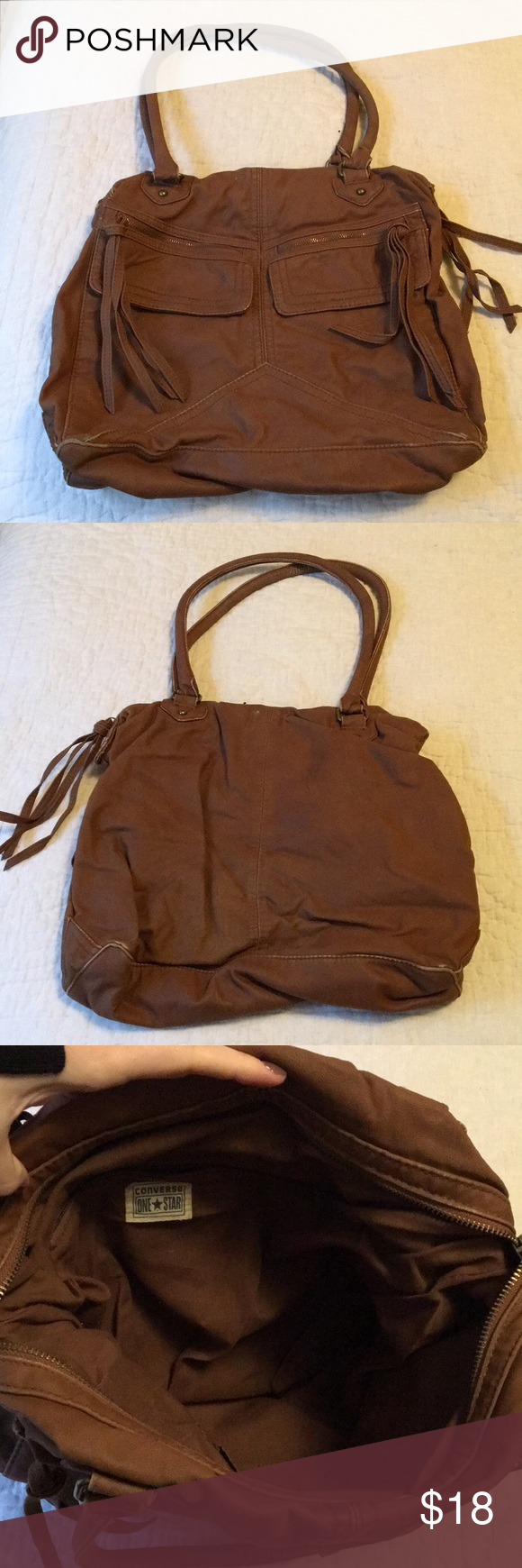 f3c97dcb57bb Target converse vegan leather bag Good used condition. 14 inches wide by 4  inches deep by 13 inches tall. Zip closure Converse Bags