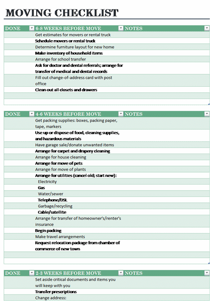 home moving checklist templates