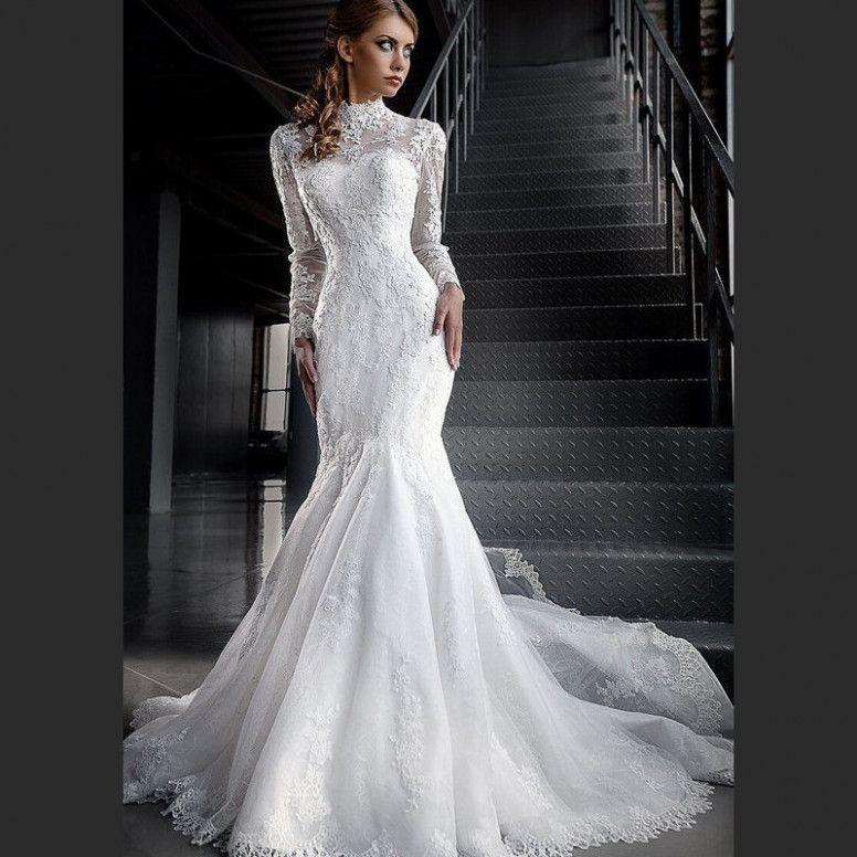 Wedding Dresses High Neck Sleeves Lace Mermaid Wedding Dress