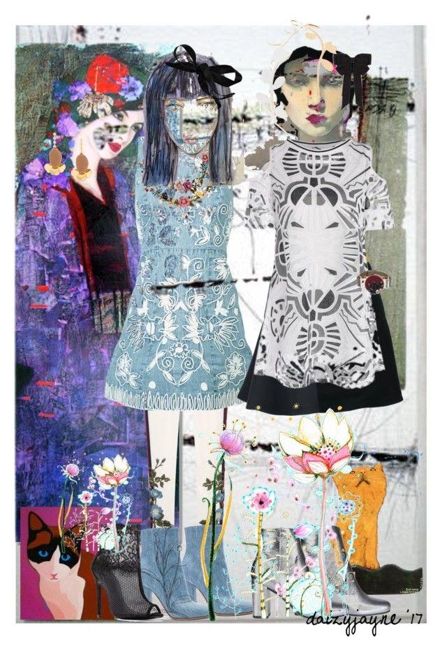 """three girls"" by daizyjayne ❤ liked on Polyvore featuring art and fashionart"