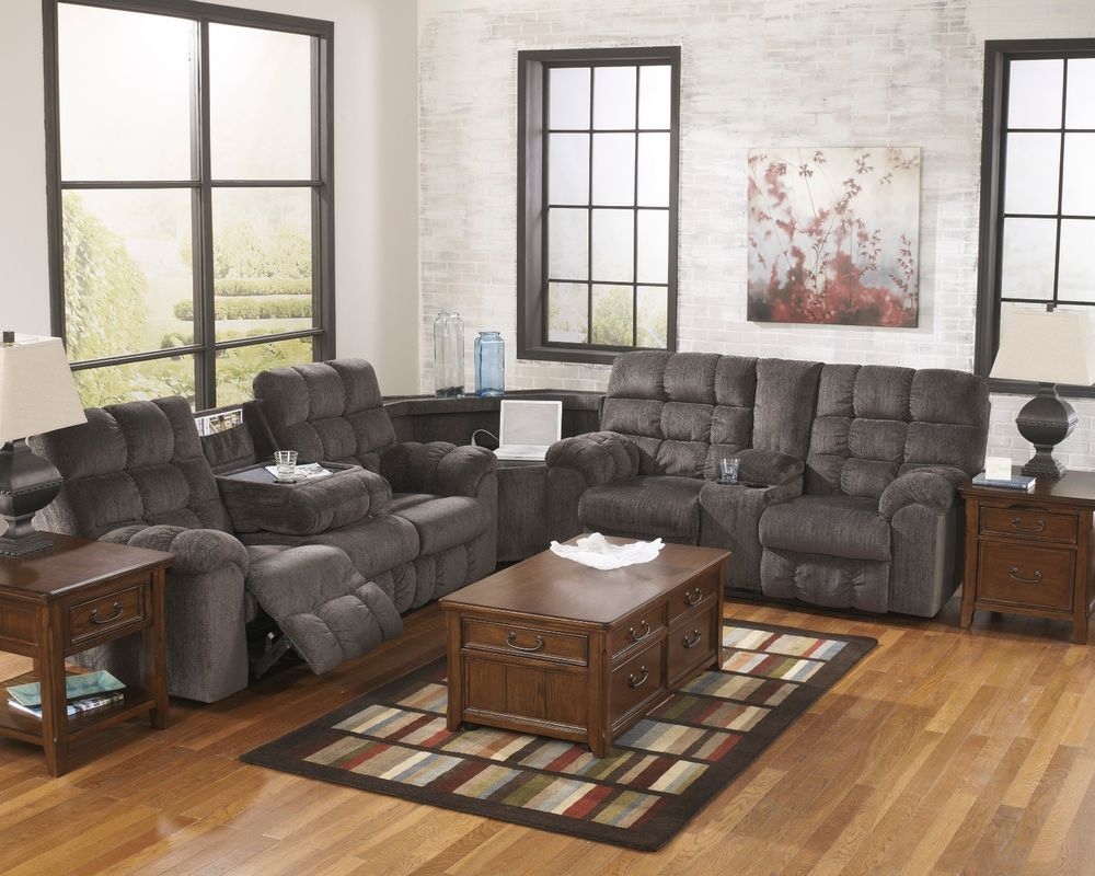 Ashley Acieona Slate Power Strip Sectional Reclining Sofa Loveseat