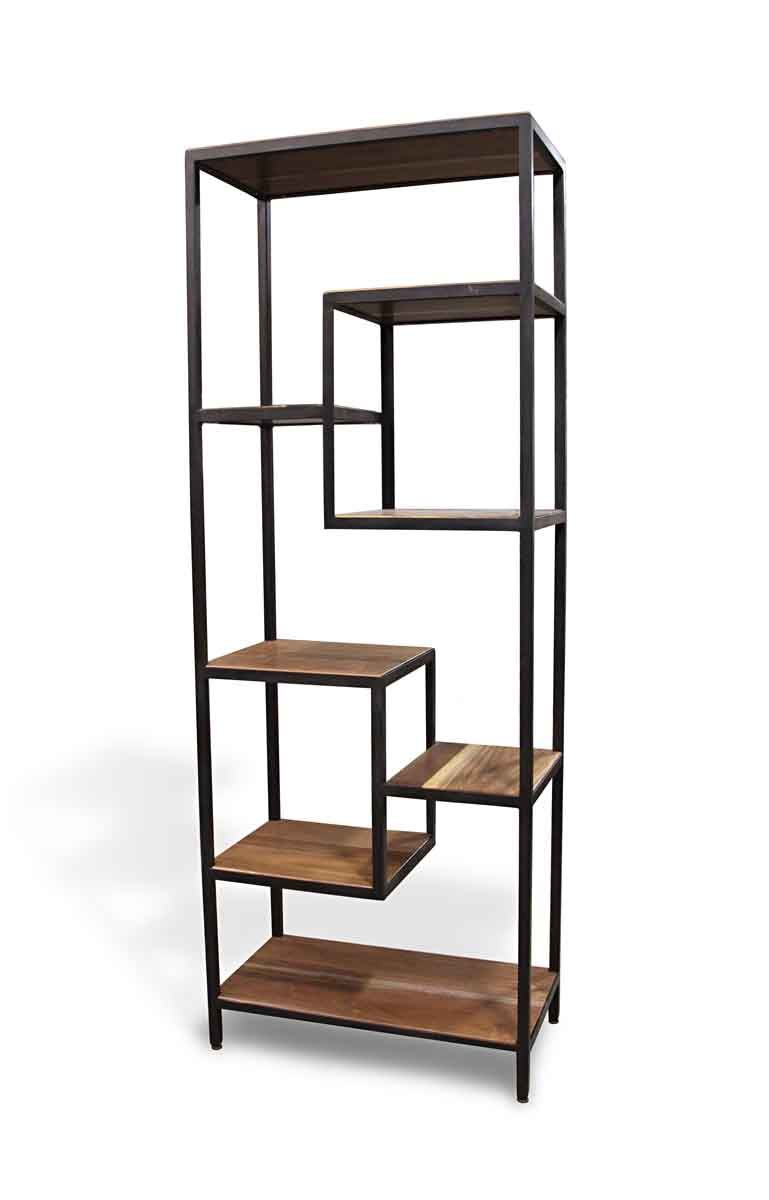 Handmade Walnut Black Steel Modern Shelf Olde Good Things Glass Display Shelves Metal Bookshelves Glass Shelves Decor