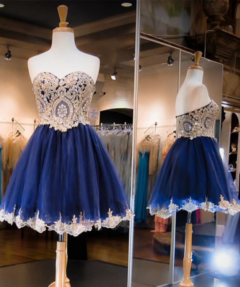Sleeveless dark navy homecoming dresses princesses crystal detailing